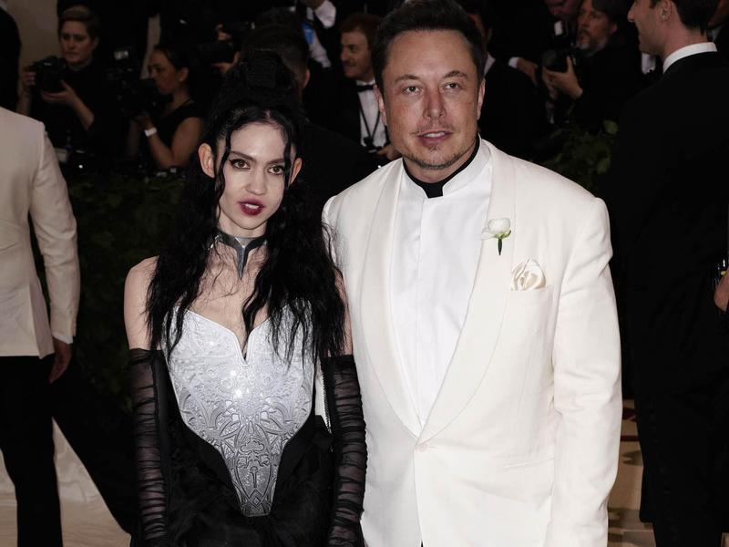 "Claire Elise Boucher (aka Grimes) and Elon Musk attend the 2018 Costume Institute Benefit Gala, celebrating the opening of ""Heavenly Bodies: Fashion and the Catholic Imagination"" at The Metropolitan Museum of Art in New York."