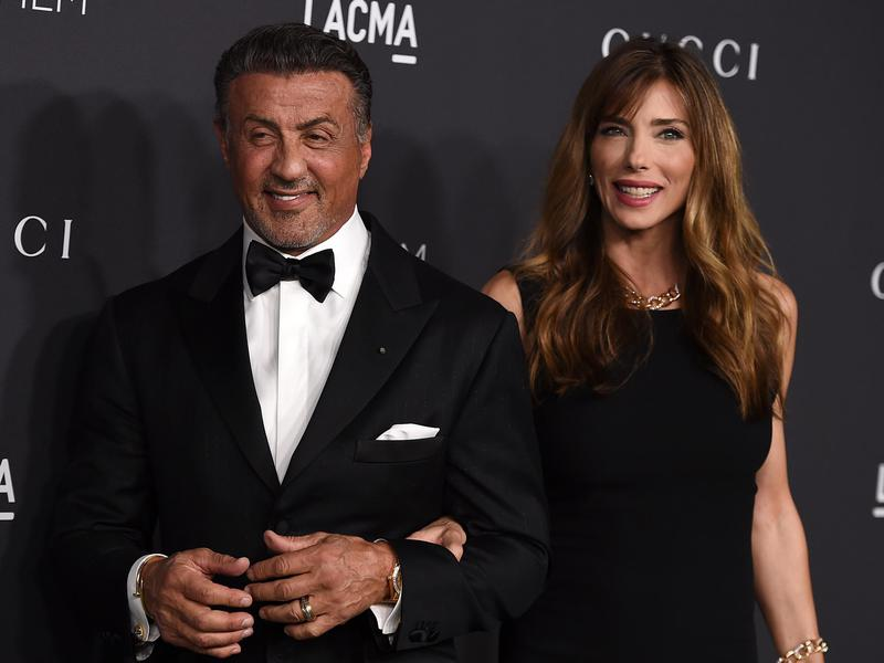 Sylvester Stallone and Jennifer Flavin arrive at the 2016 LACMA Art + Film Gala on Oct. 29, 2016 in Los Angeles.