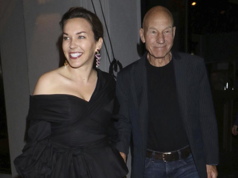 Patrick Stewart, right, and his wife Sunny Ozell are seen outside Craig's Restaurant in Los Angeles on Aug. 5, 2018.
