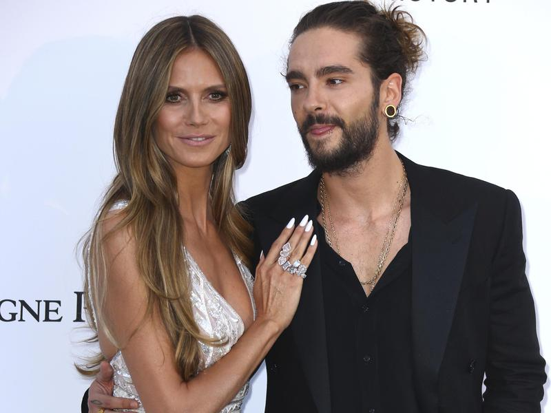 Model Heidi Klum, left, and musician Tom Kaulitz poses for photographers upon arrival at the amfAR, Cinema Against AIDS, benefit at the Hotel du Cap-Eden-Roc, during the 71st international Cannes film festival, in Cap d'Antibes, southern France, on May 17, 2018.