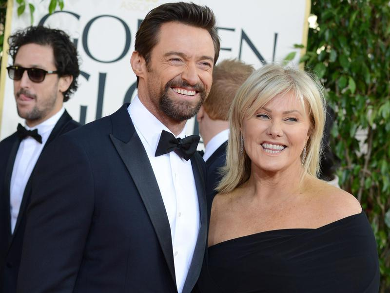 Actor Hugh Jackman, left, and Deborra-Lee Furness arrive at the 70th Annual Golden Globe Awards at the Beverly Hilton Hotel on Jan. 13, 2013, in Beverly Hills, Calif.