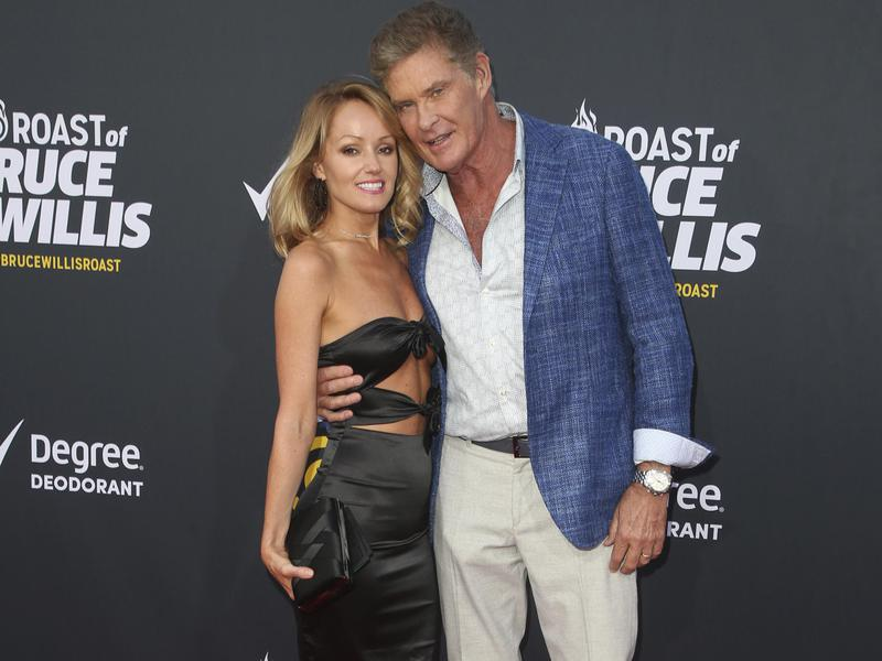 David Hasselhoff, right, and Hayley Roberts, at Comedy Central Roast Of Bruce Willis at the Hollywood Palladium in Hollywood, Calif., on July 14, 2018.