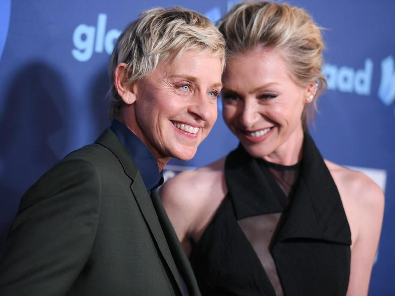 Ellen DeGeneres, left, and Portia de Rossi arrive at the 26th Annual GLAAD Media Awards held at the Beverly Hilton Hotel on March 21, 2015, in Beverly Hills, Calif.