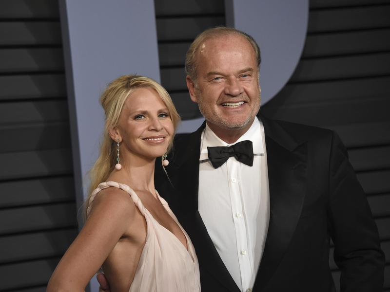 Kayte Walsh, left, and Kelsey Grammer arrive at the Vanity Fair Oscar Party on March 4, 2018, in Beverly Hills, Calif.