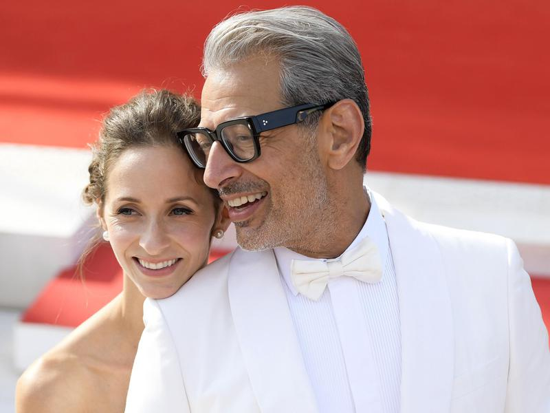 "Jeff Goldblum, right, and his wife Emilie Livingston at the premiere of ""The Mountain"" during the 75th Venice International Film Festival. in Italy on Aug. 30, 2018."