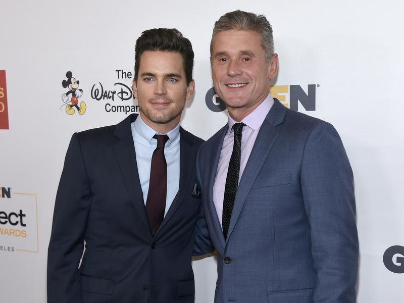 Matt Bomer, left, and Simon Halls arrive at the GLSEN Respect Awards at the Beverly Wilshire Hotel on Oct. 21, 2016, in Beverly Hills, Calif.