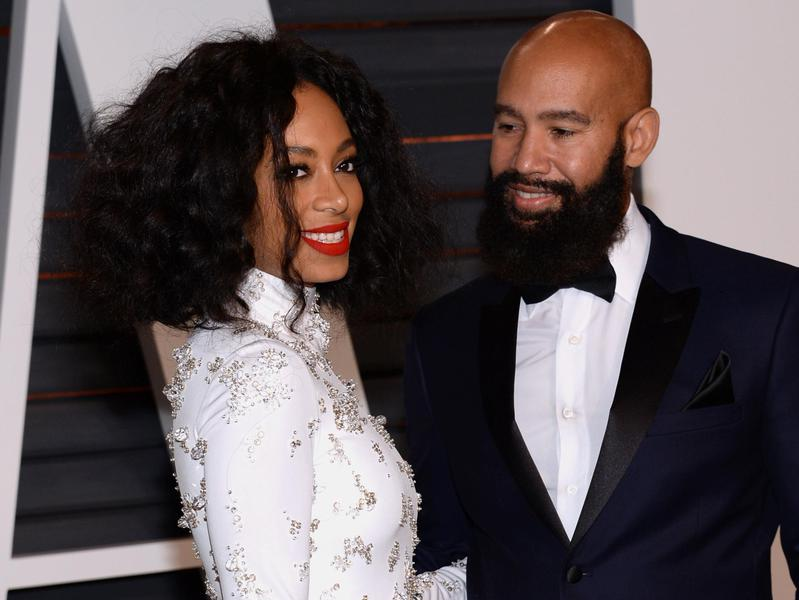 Solange Knowles, left, and Alan Ferguson arrive at the 2015 Vanity Fair Oscar Party on Feb. 22, 2015, in Beverly Hills, Calif.