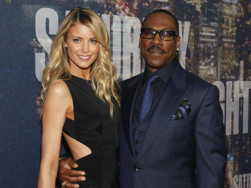 Paige Butcher, left, and Eddie Murphy attend the SNL 40th Anniversary Special at Rockefeller Plaza in New York.