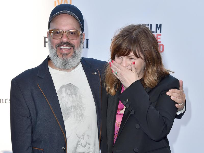 "David Cross, left, and Amber Tamblyn arrive at the premiere of ""Paint It Black"" during the Los Angeles Film Festival at the LACMA Bing Theater on June 3, 2016, in Los Angeles."
